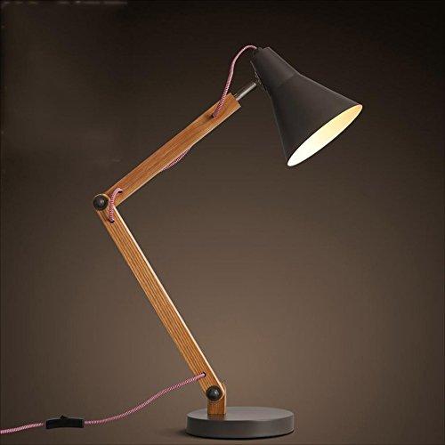 RFJJAL Wood Swing Arm Desk Lamp, Designer Tischlampe, Leseleuchten, Arbeitslampe, Arbeitslampe, Bürolampe, Nachttischlampe, LED-Lampe - Schwarz -