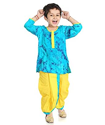 Little pocket store Blue And Yellow Cotton Printed Dhoti And Kurta Set