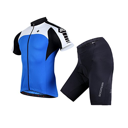 Mens Pro Radfahren Jersey Cold Wear Thermal Bike Jacke + Racing Lätzchen Tight Set BLAU ( Size : XL )