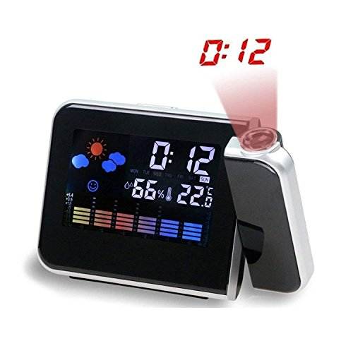 MUTANG Reloj Despertador de proyección Digital multifunción con estación meteorológica Reloj Despertador electrónico Reloj de cabecera Despertador Negro, Blanco (Color : Black)