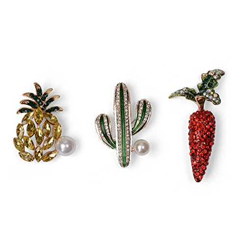 Holylove fashion jewellery statement squisito spille pianta cactus ananas carota aureo pins per donna abbigliamento accessori gioielli con scatola regalo strass e leghe di vetro-hlp04