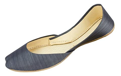 Womens Grey Striped Cow Hide Leather Casual Indian Khussa Shoes Pumps-6uk