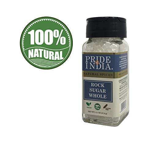 Pride Of India - Natural Crystal Rock Sugar Whole- 3.1 oz (88 gm) Dual Sifter Jar, Authentic Indian Sugar Crystals, Used to Sweeten Milk - Buy 1 GET 1 Free (Mix and Match - Promo APPLIES at Checkout) -