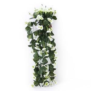 Parete 1pc Appeso Viola Fiori Di Seta Artificiale Ghirlanda Di Vite Matrimonio Giardino Decorazione - Bianco