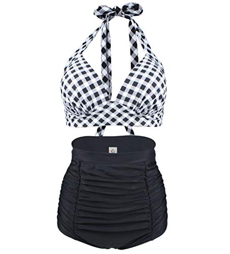 Viloree Retro 50s Damen Bademode Bikini Set Push Up Hoher Taille Bikinihose Bauchweg Kariert Schwarz & Weiss M