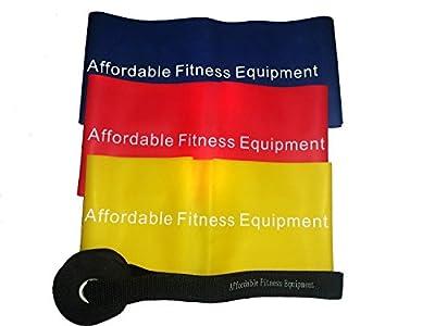 Fitness Bänder - 4-teiliges Set enthält 3 extra lange Bänder und eine Türhalterung - Workout überall möglich: als Heimtrainer oder auf Reisen - zum Muskelaufbau - zum Abnehmen, Pilates, Yoga, Herztrainer - P90X - zur Therapie