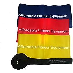 Bandas de resistencia - El pack de cuatro piezas incluye tres bandas extra largas y un anclaje para puerta. Haz ejercicio en cualquier parte - En casa y de viaje - Tonificar los músculos - Perder peso - Pilates - Yoga - Entrenamiento de la zona central del cuerpo - P90X - Insanity (Bandas 1.2meter)