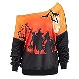 NPRADLA 2018 Damen Sweatshirt Halloween Skew Neck Pumpkin Bat Gedruckt Pullover Pullover Tops