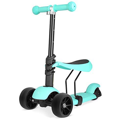 BAMNY Kinderroller Kickboard mit verbreiterten Rollen und abnehmbarem Sitz, Kinderscooter Laufrad 2in1 höhenverstellbarer Lenker und LED Leuchtrollen, Tretroller für Babys/Kinder ab 1-5 Jahren (Grün)