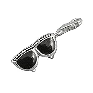 Lunettes de soleil Femme-Argent 925/1000–Noir-Breloque à Clip pour Bracelets Thomas Sabo Collier Argent massif &- 3,5 g