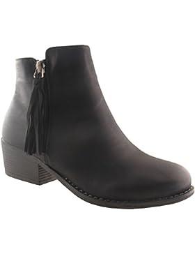 Angesagte Ankle Boot Stiefelette mit Fransen Damenschuhe Stiefel Schwarz, Grau, Khaki, Braun NEU 4,5 cm Absatz...