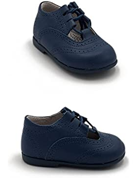 [Patrocinado]ELFOS - Zapato niño tipo gales. Todo piel. Suela Goma. Primeros pasos. Hecho en España. Color - AZAFATA
