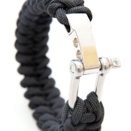 bracelet paracord 550, fermeture en métal, universel, outil de survie, noir