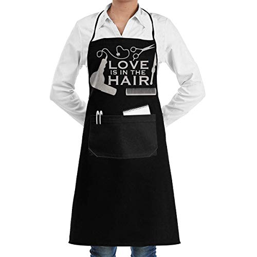 Work Apron Love is in The Hair-1 Menâ€s Womenâ€s Unisex Manicure Store Kitchen Long Aprons Sleeveless Overalls Portable with Pocket for Cooking,Baking,Crafting,Gardening,BBQ
