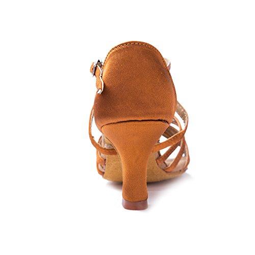 HIPPOSEUS Scarpe da Ballo Latino Satinato da Donna, Scarpe da Ballo, Modello WZJ-CL marrone-BDJ-7