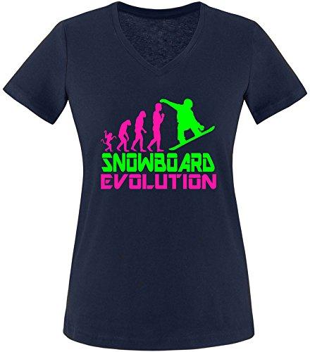 EZYshirt® Snowboard Evolution Damen V-Neck T-Shirt Navy/Pink/Neongr