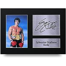 Impresión de impreso Rocky Sylvester Stallone firmado A4foto imagen pantalla–gran Idea de regalo