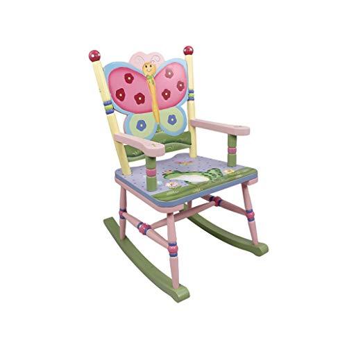 HYYTY-Y Schaukelstuhl des Kindes, Hölzerner Handgemalter Garten-Schmetterlings-Lehnsessel Für Kinderbaby -