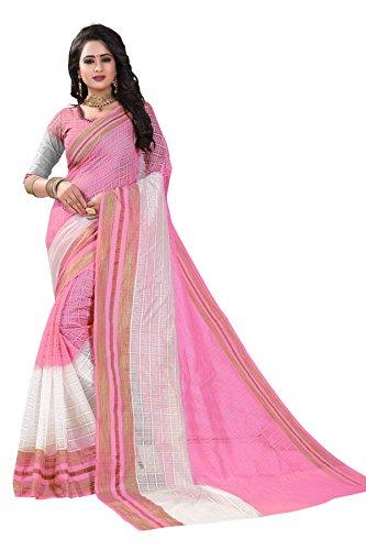 J B Fashion Women's cotton silk saree with blouse piece (off pink)