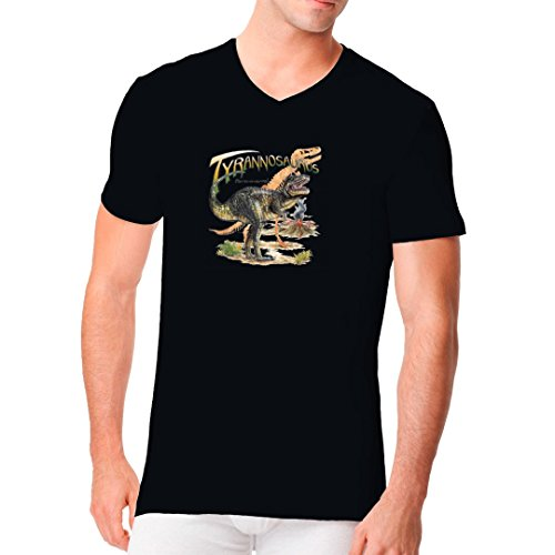 Fun Männer V-Neck Shirt - Urzeit: Tyrannosaurus Rex by Im-Shirt Schwarz