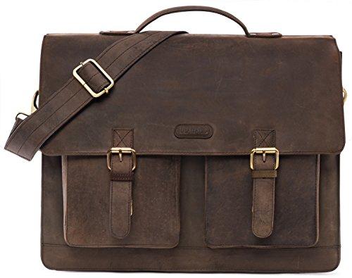 LEABAGS Miami Aktentasche Laptoptasche 15 Zoll Schultertasche aus Leder - Muskat