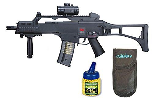 Outletdelocio. Pack Rifle Airsoft HK G36C AEG Electrico. Calibre 6mm. + Funda Portabalines + Biberon 1000 Bolas. 23054/21993