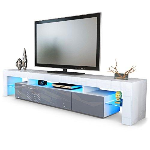 TV Schrank Lowboard Fernsehschrank Fernsehtisch Wohnzimmer Lima V2 in Weiß / Grau Hochglanz