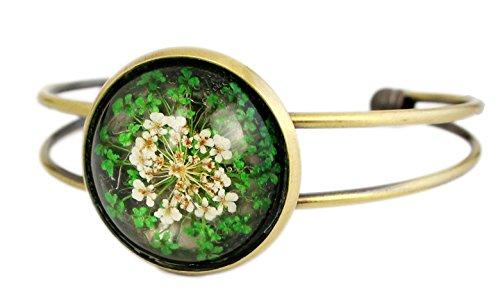 Miss Lovie Damen Schmuck Armreif Armschmuck Vintage Echte Blumen Blüten Grün Bronze