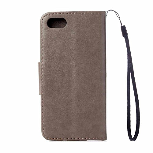 iPhone 8 Plus Custodia,COOSTOREEU Farfalla Fiorisce Pattern PU Custodia in Pelle Custodia Flip Cover per Apple iPhone 8 Plus,Verde Grigio