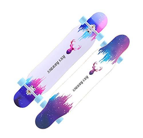 FTYUC Longboard Skateboard Highway Skateboard Adulto Cuatro Ruedas 4 Ruedas Tabla Larga Pasos de Baile Color Arena - Ciervo 118cm
