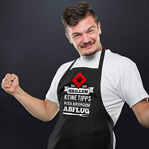 412xqQNR3ZL - YORA Grillschürze für Männer - Bin am Grillen - lustige Kochschürze als ideales Geschenk für Männer