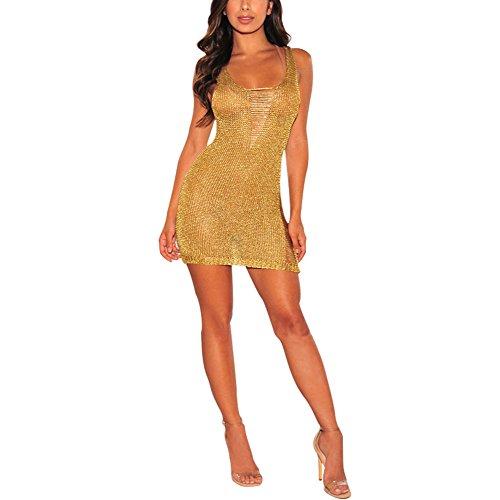 Sommer Mini Kleider - Juleya Sexy Oberteil Frauen Metallic Knit zerrissenen frauen minikleid clubwear (Kleid Metallic Knit)
