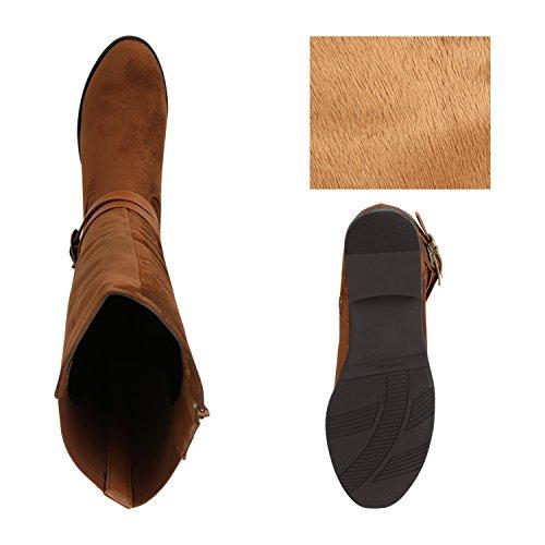 Stiefelparadies Klassische Damen Stiefel Leder-Optik Schuhe Boots Blockabsatz Schnallen Ösen Schnürungen Modische Langschaftfstiefel Flandell Hellbraun Schnallen