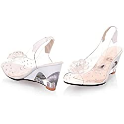 Open Toe Sandalen Low Heel Transparente Schuhe Frauen Wedge Diamonds Filet Big Size Schuhe , beige , 38
