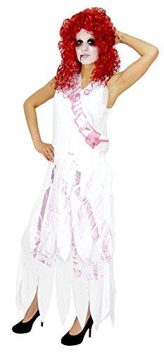 e Prom Queen Kostüm für Damen Halloweenkleid Halloweenkostüm Königin Tod Blut Damenkostüm Halloween, Größe:XL (Zombie Prom Queen)