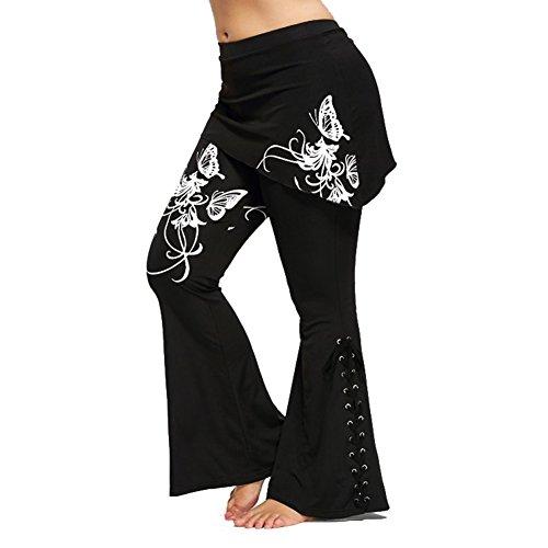 Donne Pantaloni Casuale Lungo Pantaloni - Donna Tempo Libero Pantaloni Floreale Stampato Alto Waisted Ghette Allacciare Flared Pantaloni Patchwork Mini Gonna Highdas Colore 1