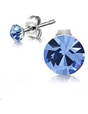 bkwear 2 Stück OS 139 bk3 Mini Edelstahl Ohrstecker Strass Stein Hell-Saphir Blau 4 mm Kristall Rund Ohrringe