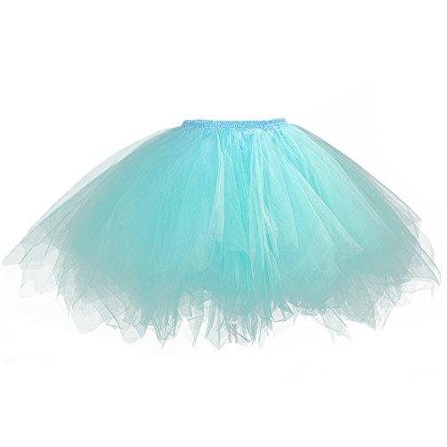 Tutu Frauen und Mädchen Ballettröckchen Röcke Prinzessin Ballett Pettiskirt Performing Dress Dancewear Unterröcke (Für Kind(Waist: 32-70CM), ice ()