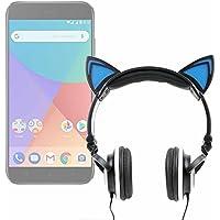 DURAGADGET Auriculares Plegables estéreo con diseño de Orejas de Gato en Color Negro para Smartphone Xiaomi