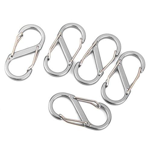 Dersoning 5pcs en forme de S Snap Clip Carabiners Porte-clés (Argent)