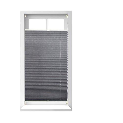 Relaxdays Store vénitien sans perçage volet fenêtre gris 90 x 120 cm laisse passer la lumière, gris