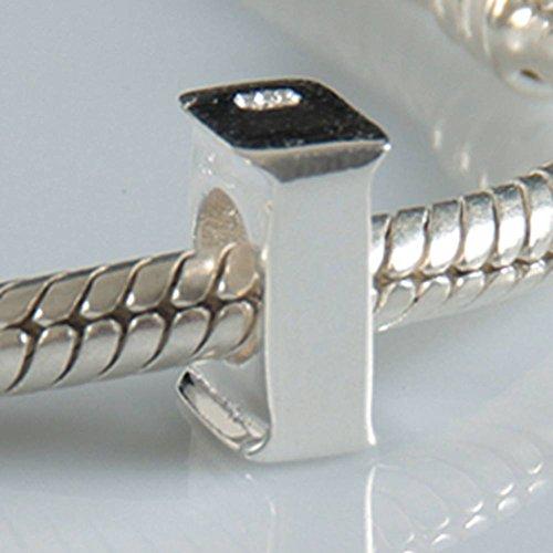 Abalorios con diseño de las letras del alfabeto (A a Z) de plata de ley 925genuina, para pulsera de Pandora