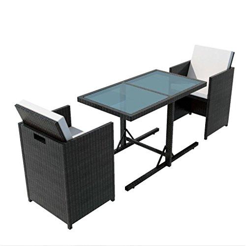 vidaXL Set da Giardino 7 pz in Polyattan Nero Tavolino Seggiole Tavolo e Sedie