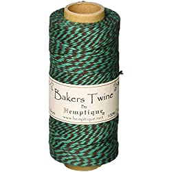Hemptique 125 m/2 Bobina de Hilo de algodón cordón de pastelero de Fuerza Media, Coco Verde