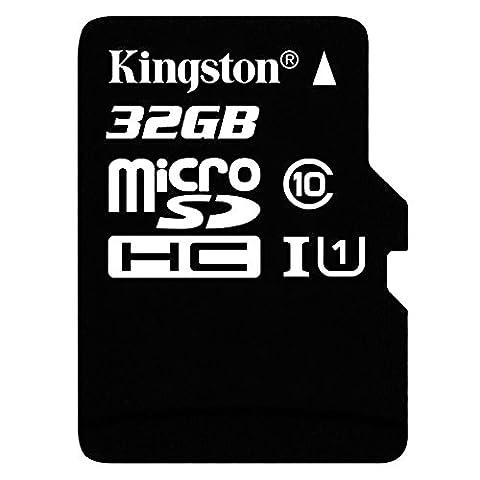 Kingston SDC10G2/32GB microSD Klasse 10 bis zu 45MB/s Speicherkarte [mit SD-Adapter]