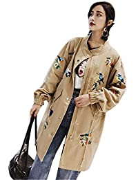 Adelina Chaquetas Mujer Vintage Fashion Bordados Manga Larga Abrigos Primavera Otoño Elegantes Retro Informales Anchos Baseball