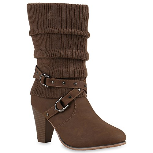 Damen Stiefel Stulpen Stiefeletten High Heel Boots Taupe Leopard