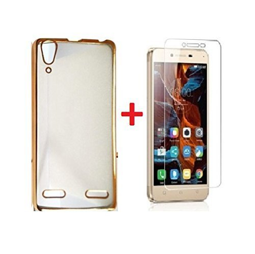 Sun Tiger MEEK5A3 (COMBO OFFER ) Lenovo VIBE K5 / K5 PLUS - Transparent Soft Silicon Flexible Electroplated Edges TPU Back Case Cover + Premium Tempered Glass screen pretector (Gold)