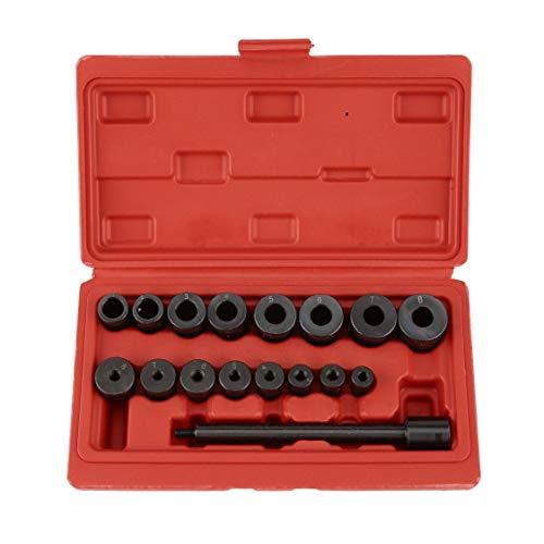 VIGE 17 Pezzi Kit Frizione Universale per allineamento Kit Cuscinetti Pilota Regolazione allineamento Strumento per Auto e furgoni Garage Tool Set - Nero