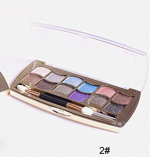 Internet 12 couleurs femmes Pro Shimmer Eyeshadow Palette & brosse cosmétiques maquillage Set 2#